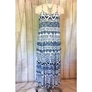 Navy Blue & White Maxi Sun Dress